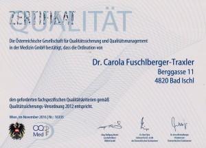Zertifikat Qualitätssicherung und -management